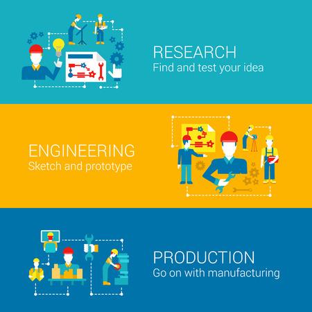 Technische professionals onderzoek wetenschap productieconcept flat bedrijven iconen set fabriek beheer productie werknemers vector web illustratie website klik infographics elementen collectie.