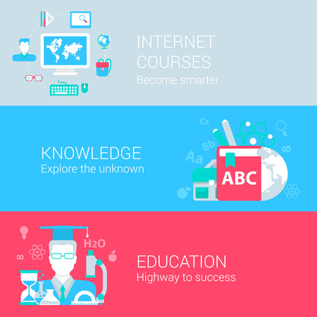 web courses: Online education study course knowledge concept flat icons set of internet courses knowledges educational and vector web illustration website click infographics elements collection.