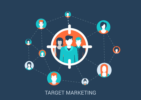 Flat style design vector illustration marketing targeting concept. Target group of people in sight marker connected with other abstract profile avatars. Big flat conceptual collection. Çizim
