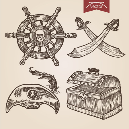 vintage objects: Pirate attributes objects accessory sword saber weapon hat dead mans chest feather handdrawn engraving style labels set ship wheel template retro vintage