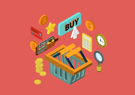 purchase icon: Online shopping cart flat 3d isometric design concept wallet payment order checkout credit card button buy vector web banners illustration print materials website click infographics element collection.