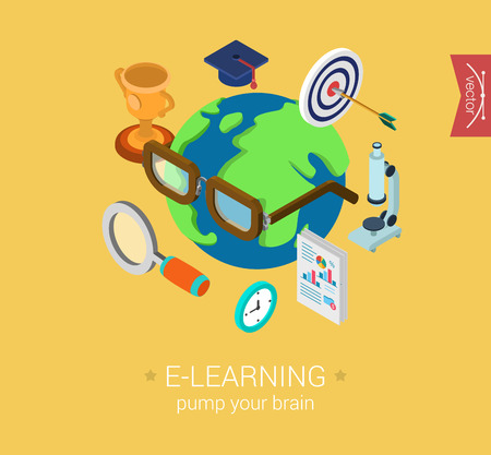 web icon: E-learning online global education flat 3d isometric modern design concept vector icon collage. Globe wearing glasses and graduate cap, microscope, magnifier. Web illustration and website infographic elements. Illustration