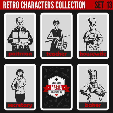 noir: Vintage retro people collection. Mafia noir style. Postman, Teacher, Housewife, Secretary, Baker. Professions silhouettes. Illustration