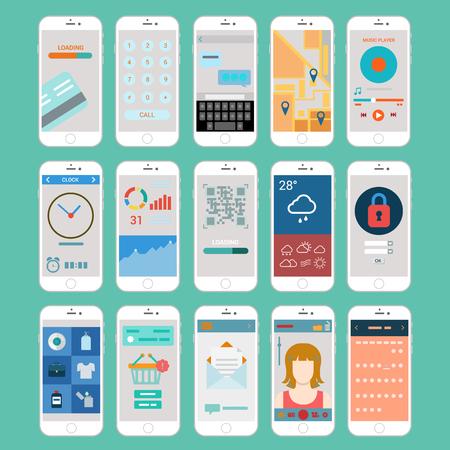 Platte mobiele app smartphones gebruikersinterface programmavensters moderne vector elementen collectie online betaling oproep sms-chat email navigatie toetsenbord weer ingelogd qr code kassa infographics. Stock Illustratie