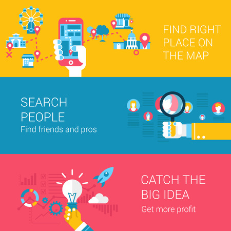 catch: Search navigation concept flat icons set of find place on the map people catch idea start up and vector web illustration website click infographics elements collection.