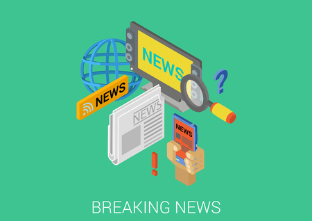 hot news: Breaking news hot information flat 3d isometric pixel art modern design concept vector. TV television newspaper global mobile web banners illustration print materials website click infographics.