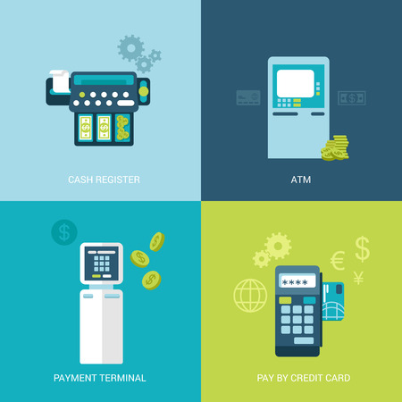 register: Flat design vector illustration concept bank finance electronic devices. Cash register, ATM, payment terminal, mobile payout. Big flat objects icons collection.