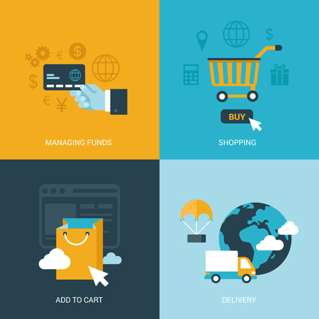 global trade: Flat design vector illustration concept process icons set of online sale shopping delivery internet trade. Shopping carts, payments, global delivery. Big flat processes collection. Illustration
