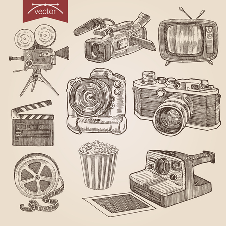 camera: Engraving style pen pencil crosshatch hatching paper painting retro vintage vector lineart illustration photo video cinema equipment set camera camcorder tv film clapper popcorn basket professional. Illustration