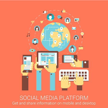 Modern flat design concept for social media platform worldwide people connection tablet smart phone pc vector web banners illustration print materials website click infographics elements collection.  イラスト・ベクター素材