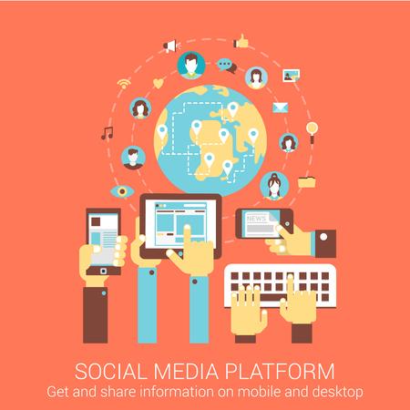 medios de comunicación social: Concepto de diseño plano moderno de plataforma de medios sociales personas en el mundo tablet pc conexión inteligente teléfono banners vector web materiales ilustración impresión web clic colección infografías elementos.