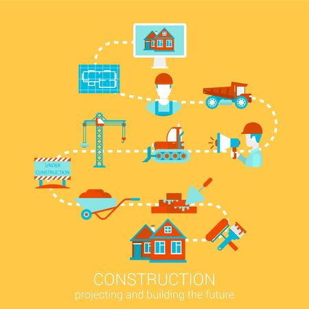 renovations: Construction home building renovation flat style design vector illustration concept. Collage of construction architecture business people object tools infographics. Big flat conceptual collection.