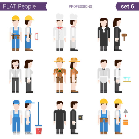 cowgirl: Flat style design professional people vector icon set. Professions carpenter, cook, judge, constructor, cowgirl, waiter, cleaner, priest. Flat people collection.