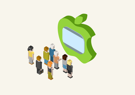 flat screen tv: Flat style 3D isometric vector illustration concept of people looking at big Apple style TV screen.