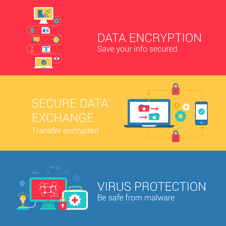 encryption icon: Data security encryption concept flat icons set of encrypt secure exchange transfer virus protection and vector web banners illustration print materials website click infographics elements collection. Illustration