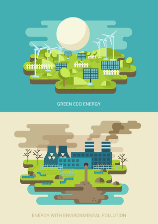 vector nuclear: Green energy ecology concept flat icons set of green energy and environment pollution power factory nuclear plant and website click for infographics design web elements vector illustration.
