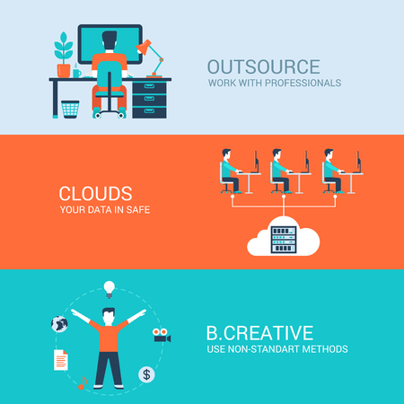 creativeness: Business technology creative concept flat icons set of outsourcing cloud data storage creativity and website click for infographics design web elements vector illustration. Illustration
