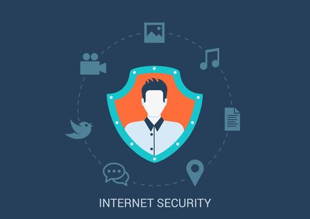 swindle: Flat style design vector illustration internet online security concept. Man profile avatar in shield with social media content chat document video map pin music image photo icons. Big flat conceptual collection. Illustration