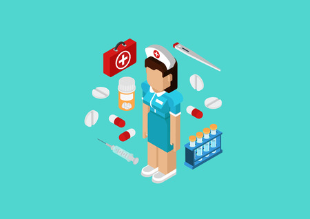 3d nurse: Medical nurse or doctor medicine hospital staff concept. Flat 3d isometric pixel art modern design portrait of female. Pills, kit, flask, syringe vector. Web illustration website infographic elements.