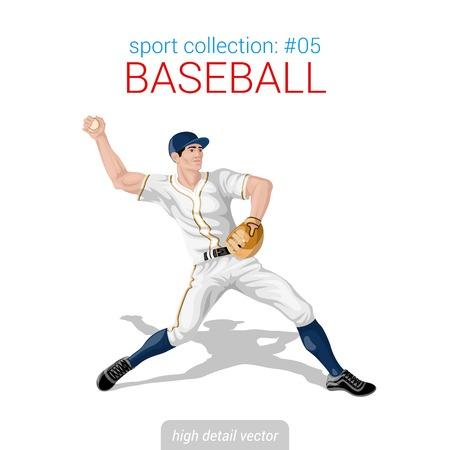 pitching: Sportsmen vector collection. Baseball pitcher infielder. Sportsman high detail illustration.