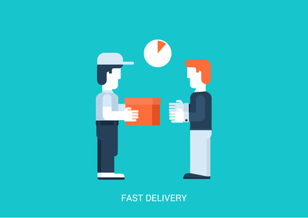 deliver: Flat style vector illustration hand to hand fast rapid shipping delivery concept. Man gives package box to another. Big flat conceptual collection.
