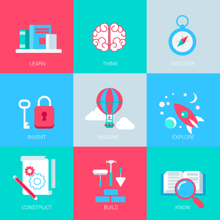 construct: Flat creative people features design icons set learn think discover invent imagine explore construct build know education modern web click infographics style vector illustration concept collection. Illustration