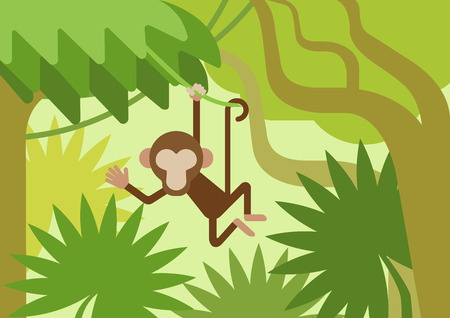 Monkey on the climber tree branch jungle flat design cartoon vector wild animals. Flat zoo nature children collection.