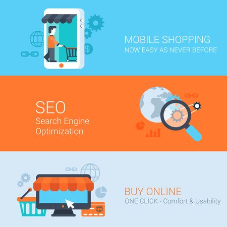 shopping icons: Business concept flat icons set mobile online shopping internet purchase online sales seo and website click for infographics design web elements vector illustration.