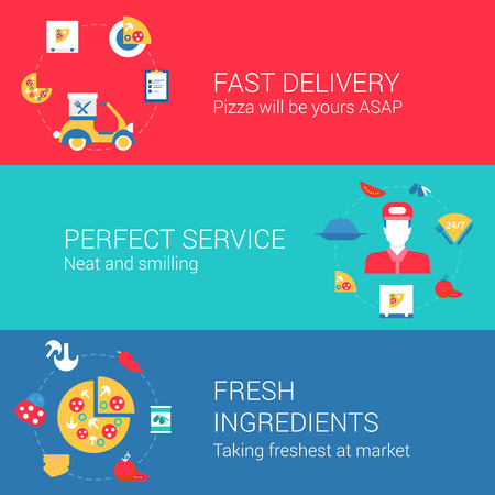 Pizza cook and delivery concept flat icons set of fast delivery perfect service fresh ingredients and vector web illustration website click infographics elements collection. Vettoriali