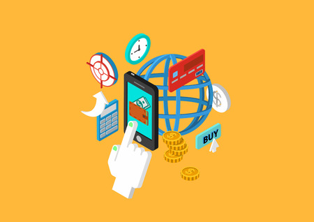 isometry: Mobile payment flat 3d isometric design concept touch phone wallet money checkout transfer credit card vector web banners illustration print materials website click infographics elements collection. Illustration