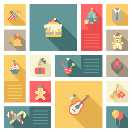 gingerbread cake: Christmas New Year objects icon set flat style. Cap bell cake tree bear decorations microphone guitar gloves gingerbread man cookie. Collection of holiday icons web element infographics template.