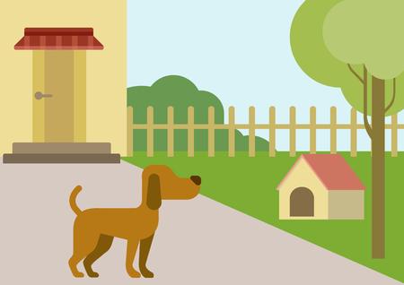 Vettoriale cane sul cortile con doghouse design piatto cartone