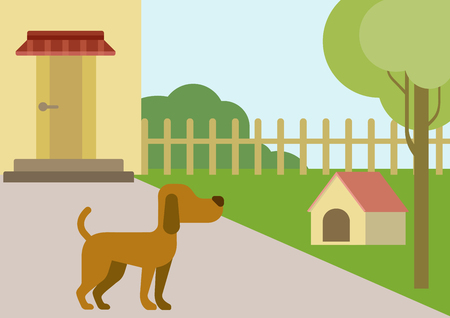 yards: Dog on courtyard with doghouse flat design cartoon vector animals pets. Flat zoo nature children collection.