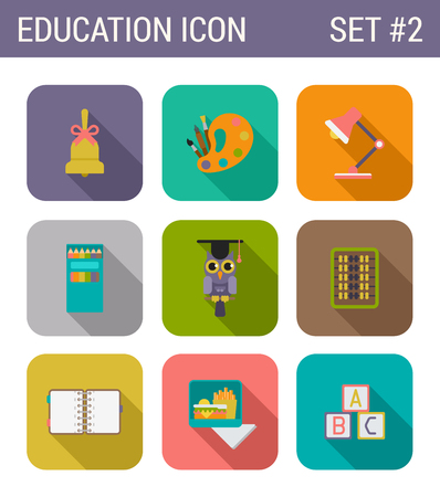 lunch meal: Flat style design long shadow education vector icon set. Bell, palette, art, lamp, pencil, owl, abacus, notebook, addressbook, meal, lunch, fastfood, cubes, abc. Flat web and app icons collection.