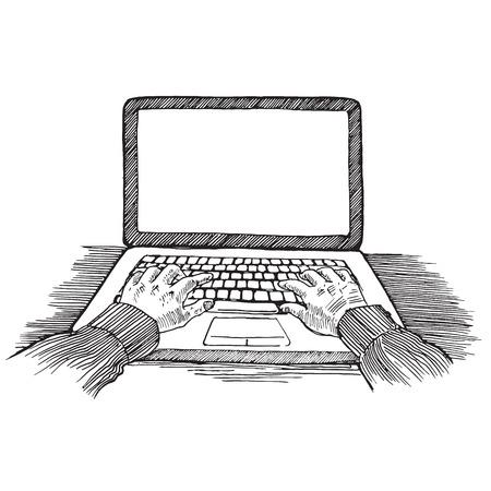 Graveren stijl pen potlood gearceerd uitkomen papier schilderen retro vintage vector illustratie Lineart handen te typen op de laptop lege copyspace achtergrond van het scherm. Graveren ontwerp conceptuele collectie. Stock Illustratie