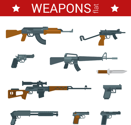 pistolas: Diseño plano herramientas de armas conjunto de iconos vectoriales. Armas, pistolas, revólveres, rifles, escopetas, ametralladoras. Colección de objetos planos.