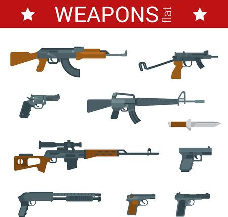 guns: Flat design weapons tools vector icon set. Guns, pistols, revolvers, rifles, shotguns, machine guns. Flat objects collection.