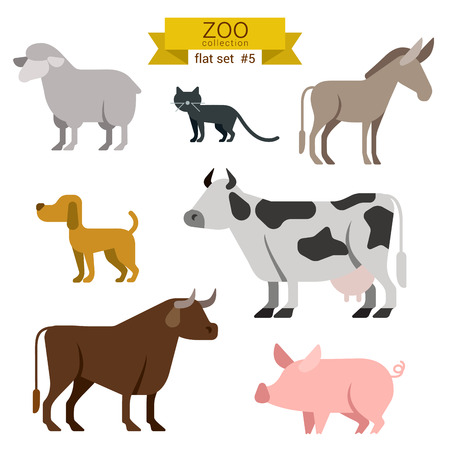 cow cartoon: Flat design vector farm animals icon set. Sheep, cat, donkey, dog, cow, bull, pig Flat zoo children cartoon collection. Illustration
