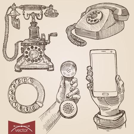 Estilo de grabado Handdrawn crosshatch pluma lápiz papel pintura vendimia vector lineart ilustración conjunto retro de la antigua teléfono inteligente teléfonos de disco eclosión. Grabe silueta colección conceptual
