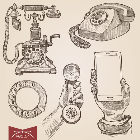 Handdrawn engraving style pen pencil crosshatch hatching paper painting retro vintage vector lineart illustration set of old fashioned disc phones smartphone. Engrave silhouette conceptual collection Ilustração