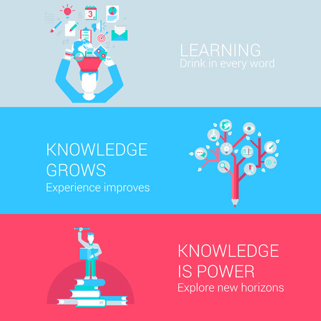 studies: Education learning knowledge study concept flat icons set of drink in word experience tree explore horizon and vector web banners illustration print materials website click infographics elements collection. Illustration