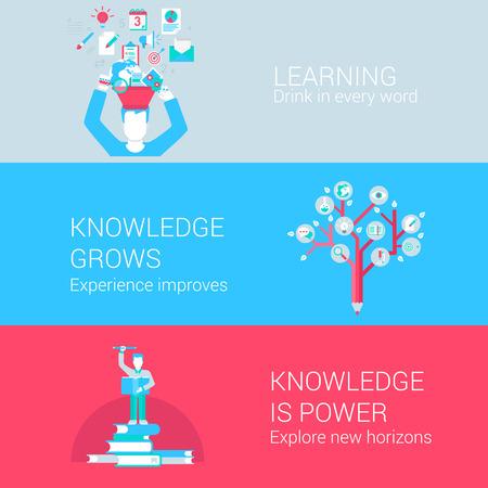 estudiando: Iconos planos Educación conocimiento aprendizaje concepto estudio conjunto de copa en la palabra experiencia árbol exploran horizonte y vectores web banners materiales impresos ilustración website clic colección infografías elementos. Vectores