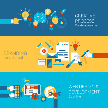 web development: Creative process branding web design development process concept flat icons set  and vector web banners illustration print materials website click infographics elements collection.