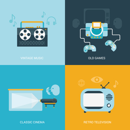 tape player: Flat design vector illustration concept retro vintage set of electronics and entertainment. Reel tape player, old game console, classic projection cinema, retro television tv set. Big flat collection. Illustration