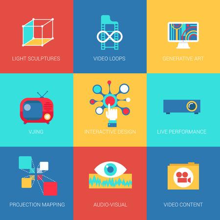 Iconos planos establecen la realidad virtual de rendimiento en vivo de mapeo de proyección de diseño interactivo web clic infografía estilo colección ilustración vectorial concepto.