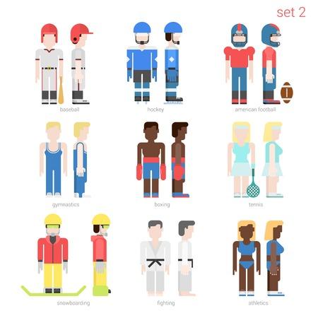 karate: Flat style sportsmen people vector icon set. Baseball batter, hockey, football, tennis player, boxer, skateboarder, karate fighter, athlete. Flat sportsman people collection.