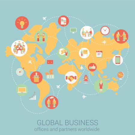 Global business wereldwijd vlakke stijl ontwerp vector illustratie kaart van de wereld mensen partnerschap koppeling verbindingen stafbureau zakelijke concept. Collage van infographics. Grote platte conceptuele collectie.