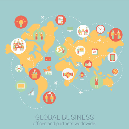 connection connections: Global business worldwide flat style design vector illustration world map people partnership link connections staff office corporate concept. Collage of infographics. Big flat conceptual collection.