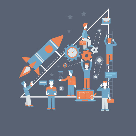 starting a business: Business starting rocket flat design infographics process concept template vector banner illustration. Rocket launch from hand palm and business creation starting process connections. Illustration