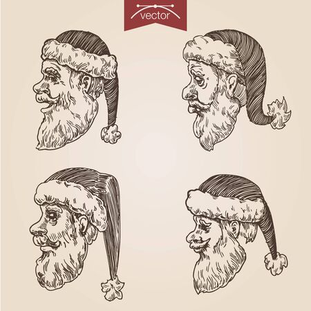 Christmas Santa emotional heads labels New Year handdrawn engraving style template poster banner print web site pen pencil portraits hatching paper painting retro vintage vector lineart illustration.
